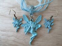 Turquoise Celtic Fairy Goddess Pendant Organza Necklace Earrings Set-Baby Blue