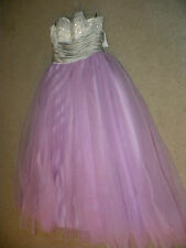 Custom White Silver Purple Ball Gown Prom Formal Dress Size 4