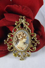 Gorgeous Hidden Heart Blue Faux Cameo Pin Brooch  FERAL  CAT RESCUE