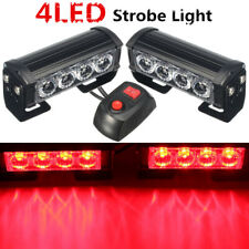 2x 4-LED Red Car Van Strobe Flash Grille Light Warning Hazard Emergency Lamp 12V