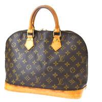 Authentic LOUIS VUITTON LV Alma Hand Bag Monogram Leather Brown M51130 37MF939