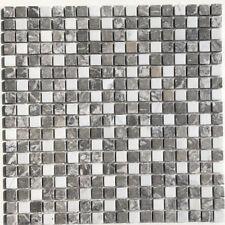 Marmor Mosaik Fliese weiß & grau matt 30x30x0,8cm Naturstein Bianco Carrara