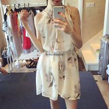 Women Fashion Chiffon Halter Off Shoulder Tunic Summer Beach Mini Dress Sundress