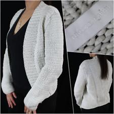Nicole Farhi Women Cardigan L 12 14 White Grey Cotton Chunky Knit Casual Winter