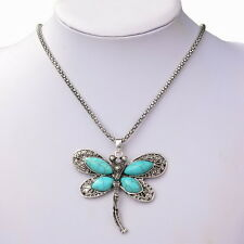 Nature Turquoise Beads Dragonfly Bib Charm Pendant Statement Chain Link Necklace