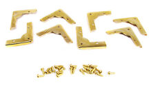 Cigar Box Guitar Parts: 8pc. Low-Profile Brass Box Corners with Screws  32-58-01