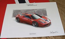 FERRARI 458 Speciale Lithograph - Design Sketch - no brochure Prospekt 95998149