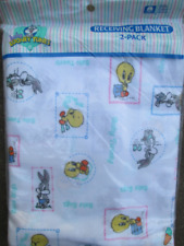 Vtg Baby Looney Tunes Receiving Blanket Set New Tweety Bugs Bunny Cotton Flannel