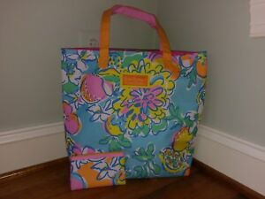 Lilly Pulitzer for Estee Lauder Tropical Fruit Floral Makeup Case Tote Bag 2 pc