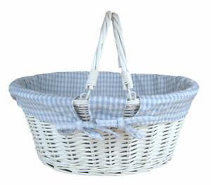 White Wicker Shopping Basket Folding Handles & BLUE GINGHAM Lining- 41x33x18cm