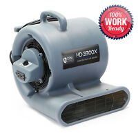 Carpet Dryer Air Mover 3 Speed 1/3 HP Blower Fan GFCI Outlets - Industrial Grey