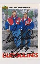 91/92 Upper Deck Peter & Chris Ferraro Team USA BL Autographed Hockey Card