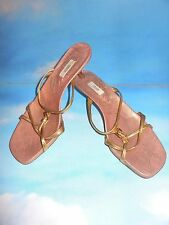 PRADA GORGEOUS LEATHER GOLD/ DUSTY PINK STRAPPY SANDALS ,HEELS 37.5 / 7 ITALY