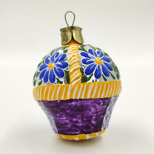 "Christmas Ornament ""Violet-yellow Basket with Blue Flowers"" vintage Decor USSR"