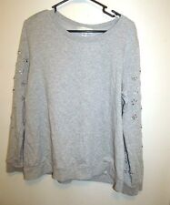 Forever 21 Plus Size Gray Sweatshirt Floral Sequins on Arms XL