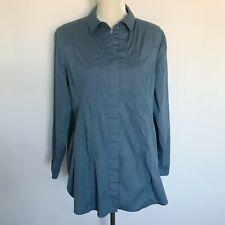 Soft Surroundings Button Down Shirt Sz PL Petite Large Stretch Blue Top Cotton