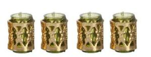 Dolls House Green Tumblers with Fillagree Miniature Dining Room Bar Accessory