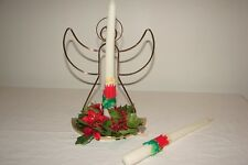 Vintage Home Interiors Christmas Angel Poinsettia Candlestick Candle Holder