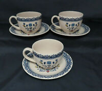 Johnson Bros Hearts and Flowers Staffordshire Old Granite 3 Cups and Saucers Set