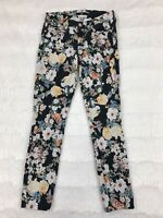 7 For All Mankind Womens Jeans Size 24 Skinny Black Floral
