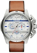 DIESEL IRONSIDE CHRONOGRAPH STAINLESS SILVER MEN'S WATCH TAN LEATHER NEW