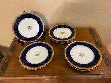 """(8) Theodore Haviland Limoges France Cobalt, Gold & Star of David 9 3/4""""  Plates"""