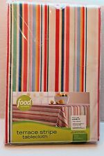 Food Network Terrace Multi Stripe Fabric Striped Tablecloth 70 inch Round NEW