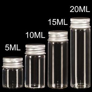 Lots of Small Glass Bottles with Aluminum Screw Cap Top Lids Cute Tiny Vials Jar