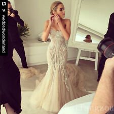 Wedding Dresses Champagne Bridal Gown Mermaid Beading Beaded Size 4 8 12 16 18