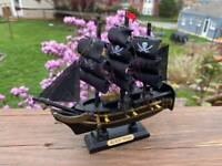 "Black Pearl Caribbean Pirate Ship Wooden Model 6"" Fully Assembled FREE SHIPPING"