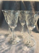 4 Vintage Long Stem Bell Wine Water Glasses