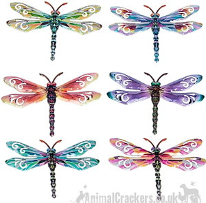 Set of 6 metal 17cm bright pastel colourful Dragonfly wall art decorations gift