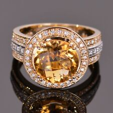 Gold Citrine and Diamond ring in Two Tone 14k Gold