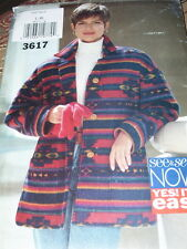BUTTERICK #3617-LADIES ( GREAT FOR FLEECE ) THIGH LENGTH JACKET PATTERN LG-XL FF