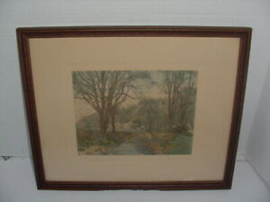"""Antique Framed Wallace Nutting Print """"THE SINGING BROOK"""" Signed  17 X 14"""