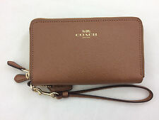 New Authentic Coach F57467 Leather Double Zip Phone Wallet/Wristlet Saddle/Brown