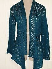 Blue Chevron Print Open Front Knit Sweater Cardigan Long Sleeve Petite Medium