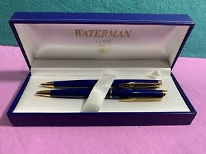 Waterman France Ballpoint Pen & Pencil set Blue in Color (VERY NICE) w/BOX