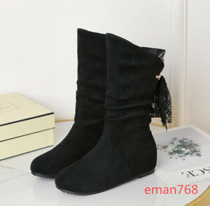 New Casual Womens Bowknot Slip on Mid Calf Boots Round Toe Suede Wedge Low Heels