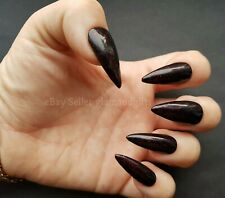 24 Hand Painted Gel False Nails Black & Red Sparkle  Coffin Stiletto Square Oval