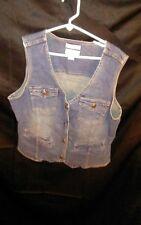 Christopher & Banks Stretch Women's Denim Blue Jean Button Up Vest Vtg 90's sz S