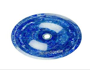 16 x 13 Inches Oval Marble Vessel Overlay Lapis Lazuli Stone Counter Top Sink