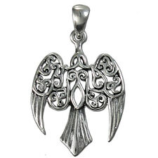 Sterling Silver Small Morrigan Raven Pendant Dryad Design Goddess Crow Wicca SS