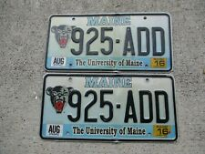 Maine  2016 The University of ME. license plate pair # 925 - ADD