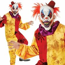Mens Scary Horror Clown Costume Mask Halloween Evil Sinister Circus Fancy Dress