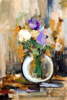 Demenko Natalia FLOWERS IN A VASE Impressionism Stylish Modern Art Oil painting