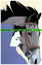 "PATRICK NAGEL POSTER  ""MONTANA"" WOMAN WITH HORSE.  REPRINT 11""x17"""