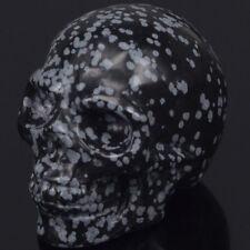 "2"" Snowflake Obsidian Skull Statue Carved Gemstone Figurine Halloween Decoration"