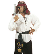 PIRATE WAIST SASH SATIN BELT BUCCANEER BLACK AND GOLD FANCY DRESS ACCESSORY