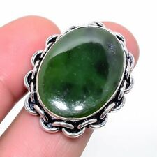 Nephrite Jade 925 Sterling Silver Jewelry Ring s.7 6910
